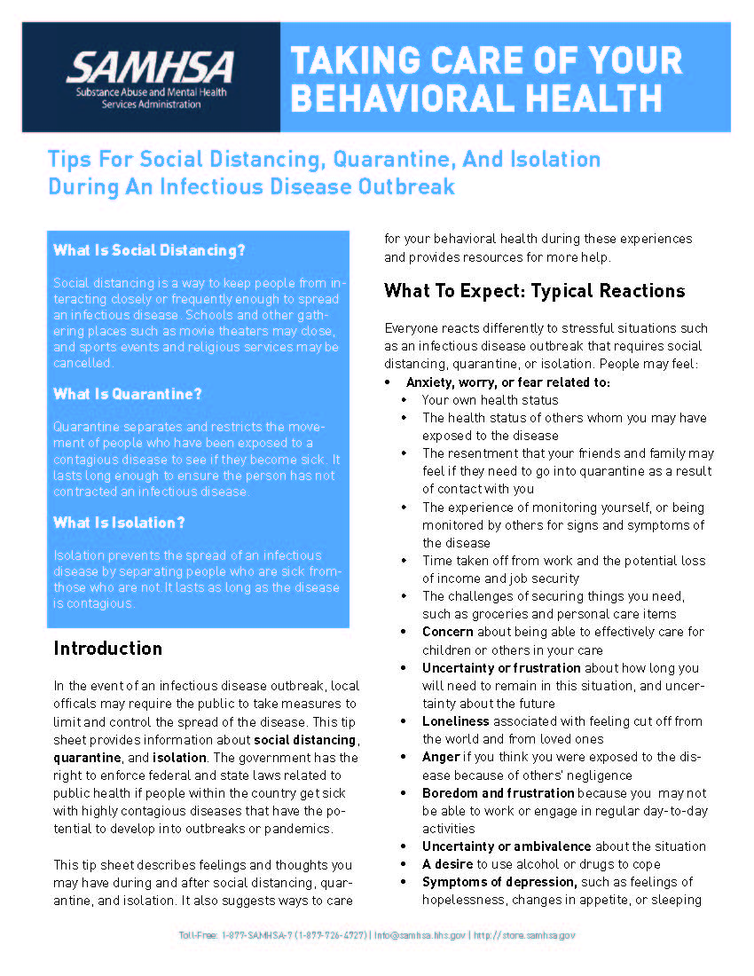 Tips on Social Distancing, Quarantine and Isolation